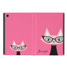 Chic Vintage Cat iPad Mini Powis Case - Pink Cover For iPad Mini at Zazzle