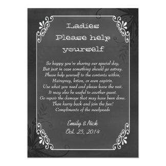 Chic Vintage Chalkboard Look Wedding Basket Sign 6.5x8.75 Paper Invitation Card