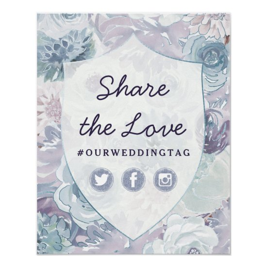 Chic Vintage Crest Share the Love Hashtag Sign