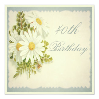 Chic Vintage Daisies 40th Birthday Card