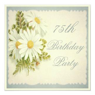 "Chic Vintage Daisies 75th Birthday 5.25"" Square Invitation Card"