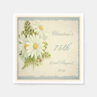 Chic Vintage Daisies 75th Birthday Serviettes Paper Napkin