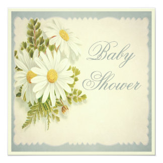 Chic Vintage Daisies Baby Shower Card