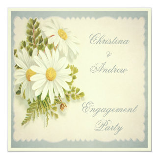 Chic Vintage Daisies Engagement Party Card