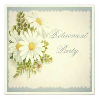 Chic Vintage Daisies Retirement Party Personalized Invite