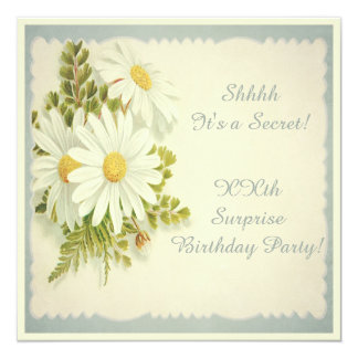 Chic Vintage Daisies Surprise Party Card
