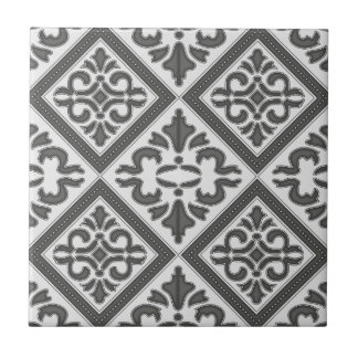 Chic Vintage design in pretty charcoal pattern Ceramic Tile