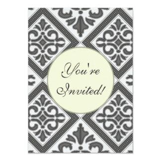"Chic Vintage design in pretty charcoal pattern 4.5"" X 6.25"" Invitation Card"