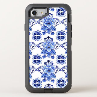 Chic Vintage Dutch Delft Blue Floral Pattern OtterBox Defender iPhone 7 Case