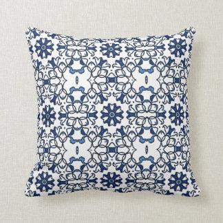 Chic Vintage Dutch Delfts Blue Floral Pattern Pillows