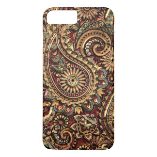 Chic Vintage Faux Gold Paisley Floral Pattern iPhone 7 Plus Case