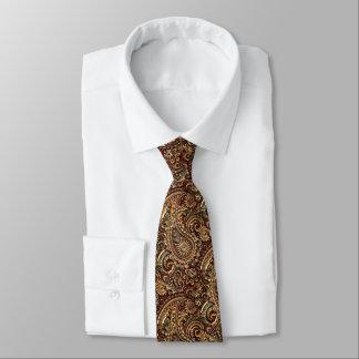 Chic Vintage Faux Gold Paisley Floral Pattern Tie