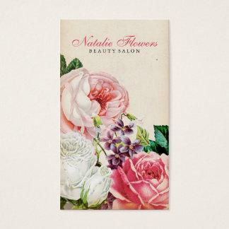 Chic Vintage Fl Elegant Pink Roses Beige Paper Business Card