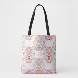 Chic Vintage Floral Pattern damask Monogram T Bag
