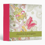 Chic vintage floral swirl paisley custom binder