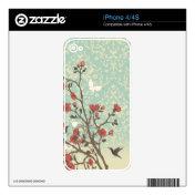 Chic vintage flowers damask bird iPhone skin