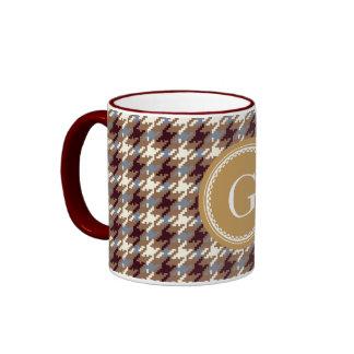 Chic vintage gold brown houndstooth plaid monogram ringer mug