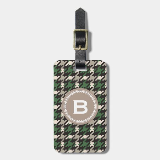 Chic vintage green houndstooth plaid monogram luggage tags
