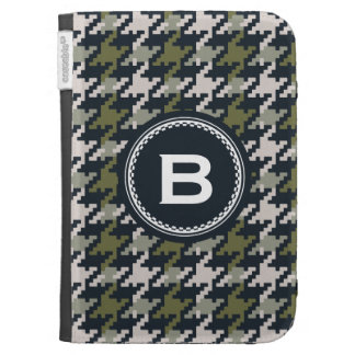 Chic vintage grey green houndstooth plaid monogram kindle covers