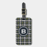 Chic vintage grey green houndstooth plaid monogram travel bag tag