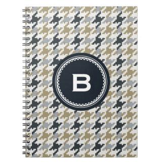 Chic vintage grey houndstooth plaid monogram spiral notebook