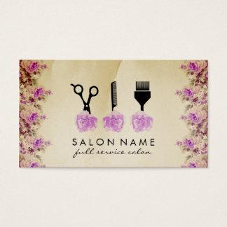 chic vintage hair stylist hairstylist purple rose business card