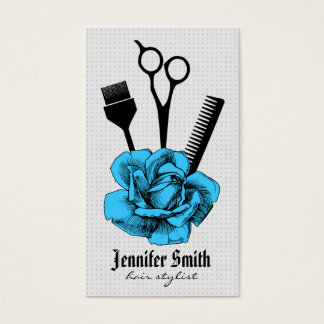 chic vintage hairstylist hair stylist blue mod business card