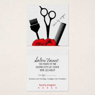chic vintage hairstylist hair stylist girly red square business card