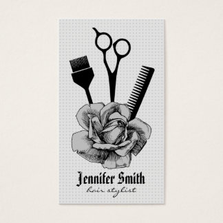 chic vintage hairstylist hair stylist grey mod business card