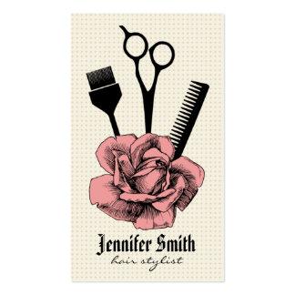 chic vintage hairstylist hair stylist pink business card