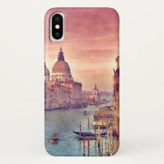 Chic Vintage Italy Venice Canal Pastel Watercolor iPhone X Case