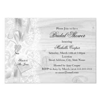 Chic Vintage Lace & Bow Bridal Shower Card