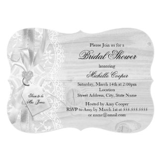 Chic Vintage Lace & Bow Bridal Shower Invite