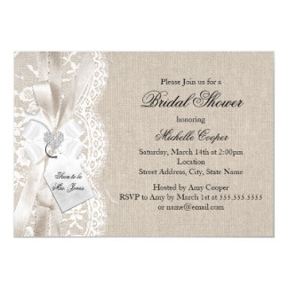 Chic Vintage Lace & Burlap Bridal Shower Invite