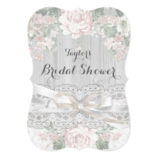 Chic Vintage Lace & Floral Bridal Shower Invite