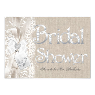 Chic Vintage Lace Silver Burlap Bridal Shower 2 Card
