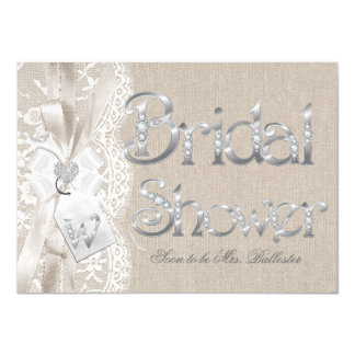 Chic Vintage Lace Silver Burlap Bridal Shower Card