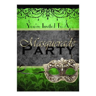 Chic Vintage Lime Masquerade Invitations