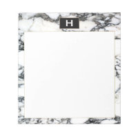 Chic Vintage Monogram Black White Marble Notepad