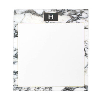 Chic Vintage Monogram Black White Marble Notepad