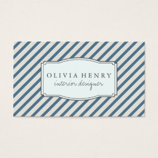 Chic Vintage Navy Blue Stripes Business Card