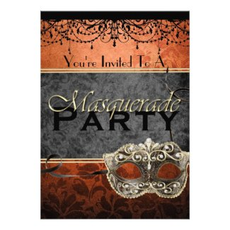 Chic Vintage Orange Masquerade Invitations
