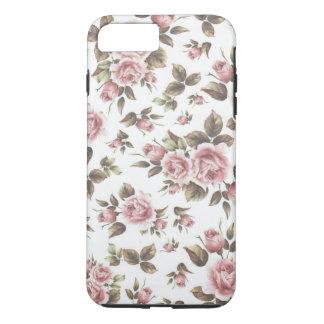 Chic vintage pastel pink brown roses flowers iPhone 7 plus case