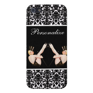 Chic Vintage Pin Up Show Girls on Damask Cover For iPhone SE/5/5s