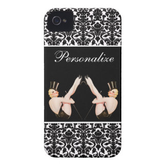 Chic Vintage Pin Up Show Girls on Damask iPhone 4 Cover