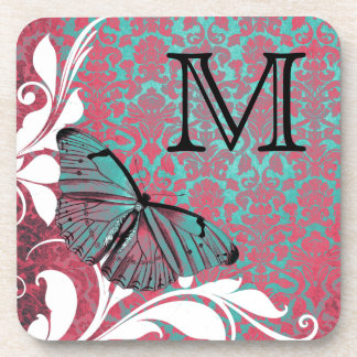 Chic Vintage Pink Blue Butterfly Damask Pattern Drink Coaster