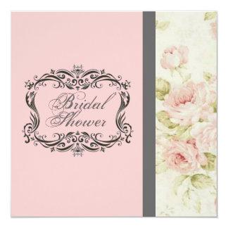 Chic Vintage Pink Floral Bridal Shower Invitation