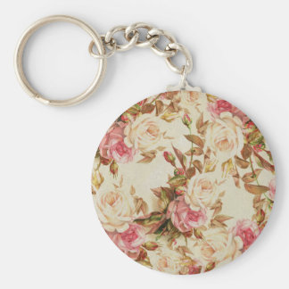 Chic vintage pink white brown roses floral pattern keychain
