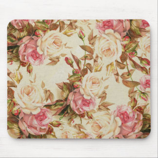 Chic vintage pink white brown roses floral pattern mouse pad