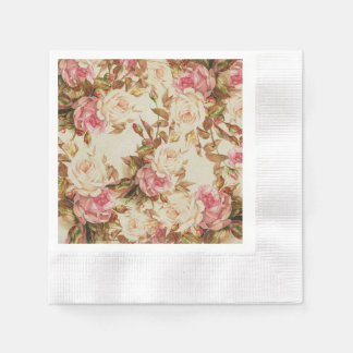 Chic vintage pink white brown roses floral pattern napkin